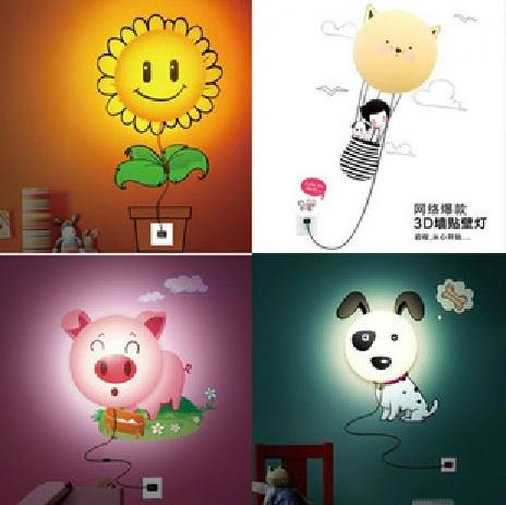 Diy flower wallpaper wall lamp 3d wallpaper wall lamp wall lights cartoon child room wallpaper lamp light source(China (Mainland))
