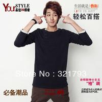 Free shiping,2013 spring autumn men's casual slim long-sleeve T-shirt fashion,solid 0-neck t-shirt