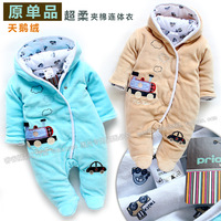 Autumn and winter padded romper baby boy car bodysuit outerwear baby clothing style romper