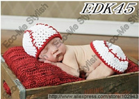 Free shipping lovely baseball baby hat and shorts handmade crochet photography props baby hat and shorts