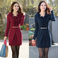 2013 autumn women's slim long-sleeve dress plus size a-line skirt middle-age women autumn