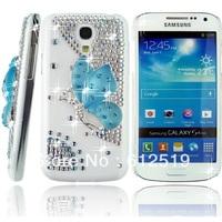 Luxury Blue Diamond Crystal Rhinestones Butterfly Transparent  Hard Protective Case For Samsung Galaxy S4 / IV mini I9190