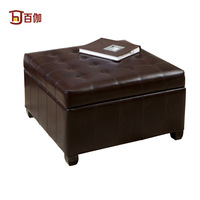 one hundred American / large-capacity storage stool / Fashion Leather coffee table stool / retro leather stool / brown