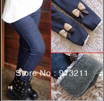 Бесплатная доставка розничные продажи новый 2013 девушки зима теплая узкие брюки девушки с бантом джинсы леггинсы брюки