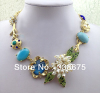 Free Shipping 2013 New Trendy Multi-color stones Charming Pearl Necklace Designs for Women(HWN008)