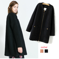 winter coat women fashion 2014 Brand wool coat Lady Round Neck Zipper Up winter Outerwear Woolen thick Trench Coat