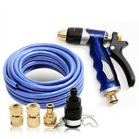 Copper household high pressure car wash water gun blue water pipe 15 meters 10 meters set copper head plumbing hose