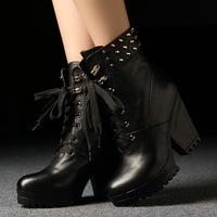 2013 fashion casual genuine leather boots spring and autumn boots high thick heel martin boots ankle boots single boots