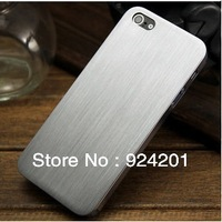 5pcs/lot,0.3mm Thin Brushed Aluminum case for iphone 5 Hard Luxury, Titanium steel mesh Metal back cover for iphone 5g, 4 styles