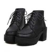 2013 Womens Punk Gothic Lace Up Chunky Heels High Platform Ankle Boots shoes Eur35 Eur36 Eur37 Eur38 Eur39