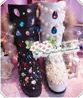 New 2013 rhinestone diamonds winter women boots mid-long calf black white outwear boots woman