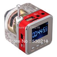 Digital Portable Mini Speaker Music MP3/4 Player Micro SD/TF USB Disk Speaker FM Radio LCD Display Free shipping