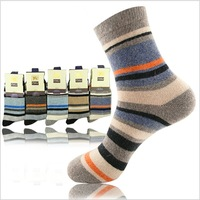 Free shipping new 2013 winter men's warm fleece socks, men's socks, long thickened, stylish business casual striped sock LH356