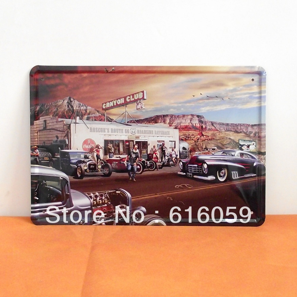 [ Do it ] COWBOY CLUB CAR MOTOR Retro Metal tin signs Bar Home Vintage Metal paintings decor 20*30 CM A-74 Free shipping(China (Mainland))