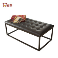 one hundred American Modern / Leather Bench / clothing store sofa stool / shop compartment stool / metal frame