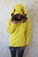 2013 Hot Selling Lovers Design Cartoon Pikachu Sweatshirt Zipper Yellow Cute Cardigan Anime Hoodies With Ears