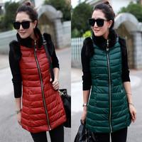 2013 fashion winter medium - long down cotton vest rabbit fur decoration PU leather vest getting free shipping2