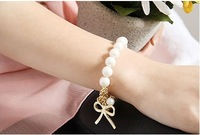 C003 restoring ancient ways pearl bracelet with bowknot free shipping!