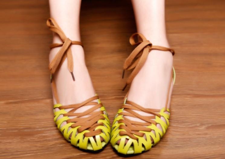 Женские сандалии Straw Green Peas shoes flat sandals lady sandals
