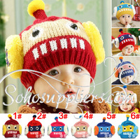 6 Colors Robot Designs Boy&Girl's Winter Hats Beanies Children Linecaps Kids Knitted Hats Caps 10pcs Free Shipping MZD-051