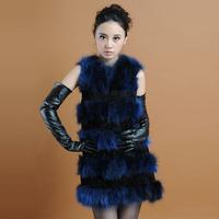 2014 autumn winter new fashion slim ladies medium-long rex rabbit fur raccoon fur vest WTP5
