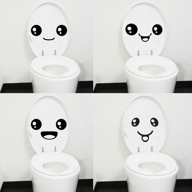 Wholesale 4 pc Creative Smile Toilet Stick Paste DIY Furniture Decorative Wall Sticker(China (Mainland))