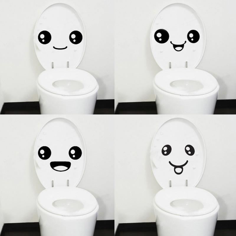 Wholesale 4 pc Creative Smile Toilet Stick Paste DIY Furniture Decorative Wall Sticker(China (Mainland))