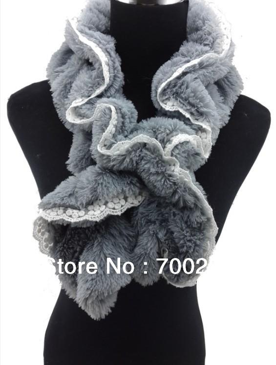 50pcs/lot Soft Elastic Lace Edge Faux Fur Scarf Neck Wrap Color #1~#5 , Free Shipping(China (Mainland))