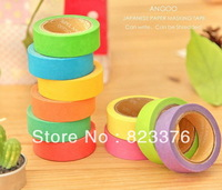 DHL Free shipping 200pcs DIY Candy Color Japanese Washi Tape Paper Masking Tape Gift 15mm*10m
