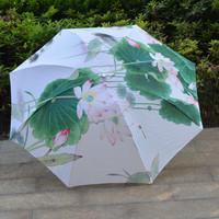 Painting umbrella Beautiful Flower Lotus umbrella Girls Ladies womens parasol Sun Rain umbrella free shipping