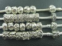 Wholesale Mix 100pc Tibetan Silver Charm Spacer Beads Fit European Bracelet H96