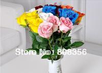 "12Pcs 45cm/17.72"" Length Six Colors Artificial Flower Simulation Rose Real Touch Pu Flower Head Home Decoration"