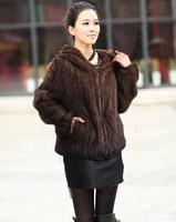 DHL/EMS free shipping women winter hooded  jacket Genuine mink hair fur coat hand-knit