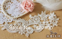 22.2CM*8CM Free Shipping Handmade DIY Elegant White Lace Embroidery Wedding Applique
