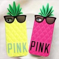 Victoria/'s Pineapple 3D Silicone Case Secret for iPhone PINK silicon cover case for iPhone 5 5g 5S, free shipping