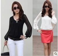 East Knitting FREE SHIPPING AE-016 Women chiffon long-sleeve collar Shirts 2014 fashion womans blouses top sale