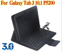 """For Samsung Galaxy Tab 3 Tab3 10.1"""" P5200 Wireless Bluetooth Silicone Keyboard PU Leather Case Cover Black Free Shipping"""