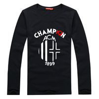 2013 champions league t-shirt autumn long-sleeve 100% cotton casual slim t-shirt basic shirt