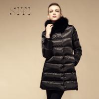 Free shipping XXL coat women winter jacket female brand long down leather duck thickning high- quality parka black fur fox,B1041