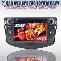 "7"" Car DVD GPS for Toyota RAV4 with GPS Navigation+Bluetooth+Radio+USB+Steering Wheel Control+800MHZ+256RAM+Free 8G Map+1080P"