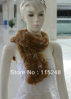 Fur Collar Scarf Women Rabbit Real Fur Knitted Scarf Ring
