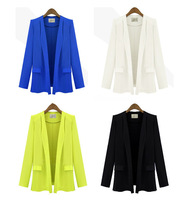 Free Shipping 2013 New Fashion 3 Colors Slim Lapel Long Sleeve Padded Shoulders Formal Casual ZA Blazer For Women