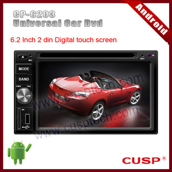 """6.2"""" 2 din android car gps navigation with dvd player,audio,radio,bluetooth,TV,mp3,RDS,3G,wifi,IPOD,USB,SD for Universal Car"""