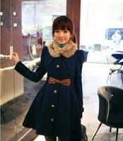 S-XL ,2014 New Fashion Autumn Winter Elegant Long Woolen Coat Women Slim Thick Warm Coats Tops With Belt,Free Shipping