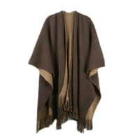 Women's fashion color block vintage tassel large cape large scarf mantissas cloak yarn