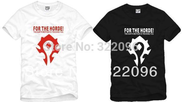 Мужская футболка wow warcraft ! Tshirt dota t 100% For the horde футболка print bar horde