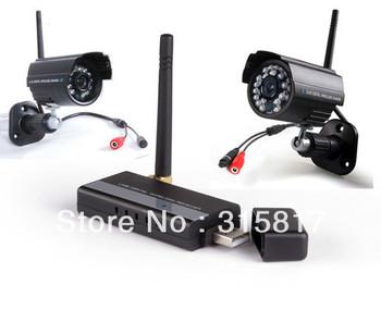 Digital Home Security CCTV System Wireless Video IR 2 Cameras & 4CH USB Receiver DVR