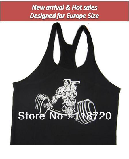 Nova chegada, Stringer Singlet Regatas Gym Vest Bodybuilding Roupa Y Voltar topo muscular, alta fibra lycra elástica , preto / amarelo(China (Mainland))