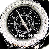 Free Shipping 1pcs Newest Fashion Colorful Fancy Stylish Silicone Crystal Teenagers Lady Girls Jelly Fashion Quartz Watches, A14