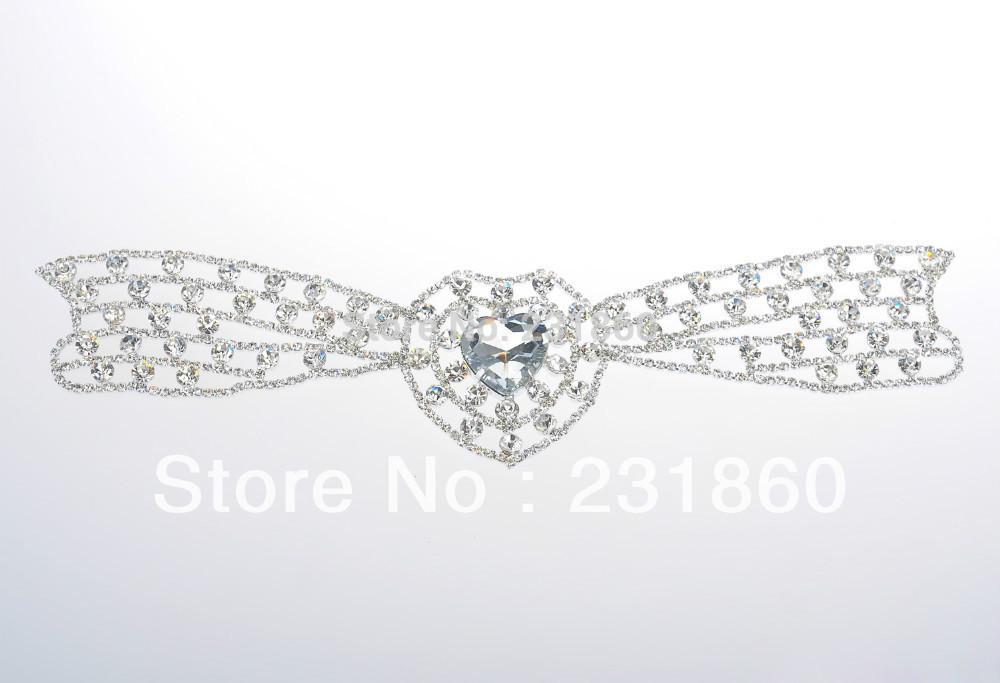 1 X Crystal Heart Rhinestone Applique Silver Motif Embellishment Bridal Costume Trim(China (Mainland))